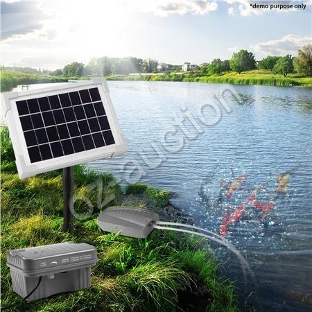 solar powered air pump pond oxygenation oxygenator pump kit 5w battery operated ebay. Black Bedroom Furniture Sets. Home Design Ideas