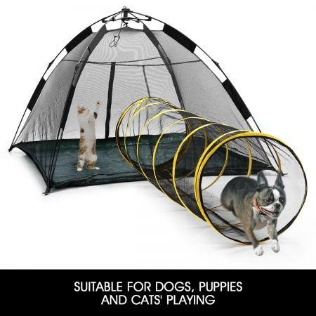 auto pop up pup tent pet dog cat outdoor portable play fun house with tunnel ebay. Black Bedroom Furniture Sets. Home Design Ideas