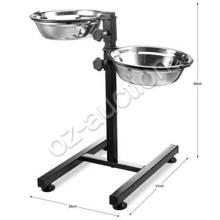 Pet Feeder Cat Dog Food Water Dish Height Adjustable Stand