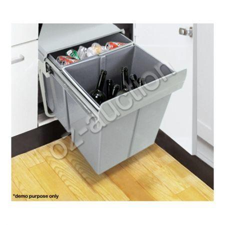 twin pull out bin kitchen double waste dual slide garbage rubbish trash 2x20l ebay. Black Bedroom Furniture Sets. Home Design Ideas