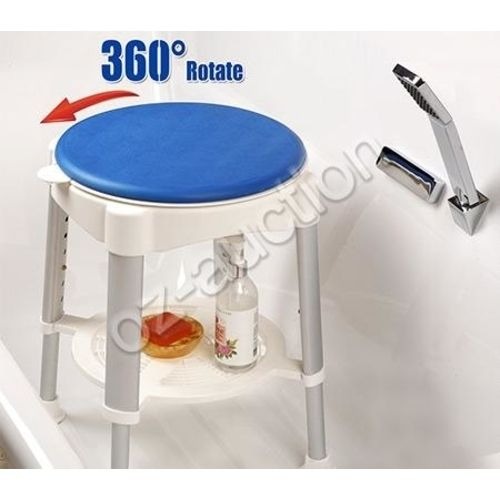 Adjustable Shower Stool Chair 360 Degree Rotating Swivel