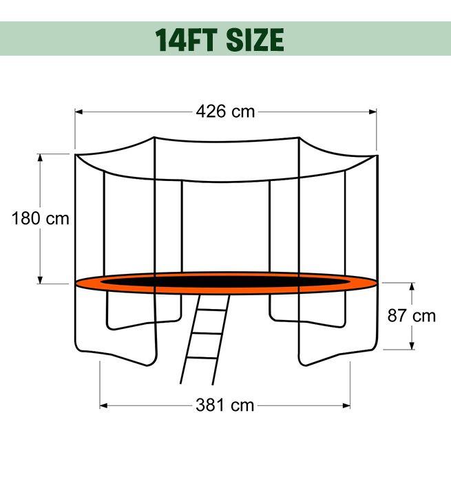 New 14ft Round Trampoline Free Basketball Set Ladder