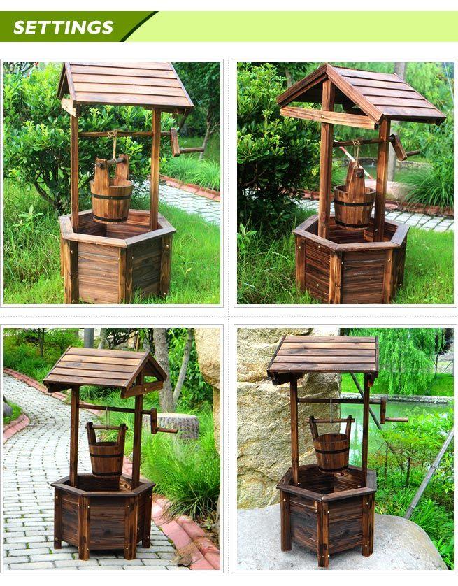 Beau ... Wooden Wishing Well Garden Feature   Fir Wood