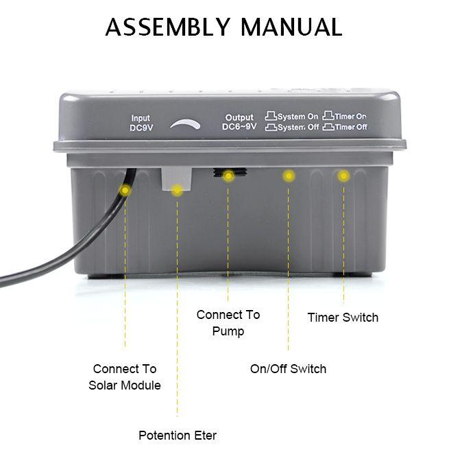 3 5w Solar Power Fountain Water Pump Kit Timer Led Light