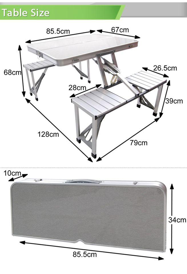 Aluminium Folding Portable Picnic Outdoor Camping Set Table & 4 ...