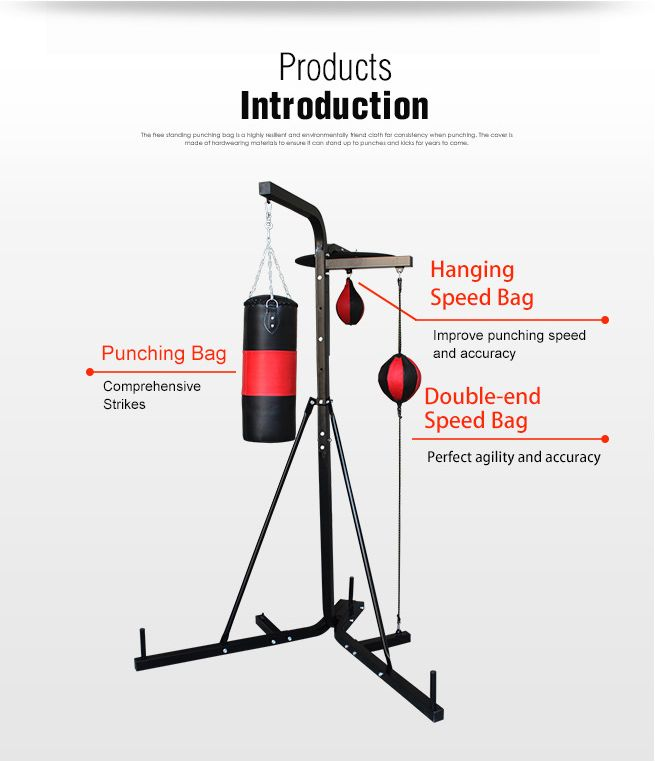 3 IN 1 Multi Station Boxing Stand Punching Kick Bag Floor ...