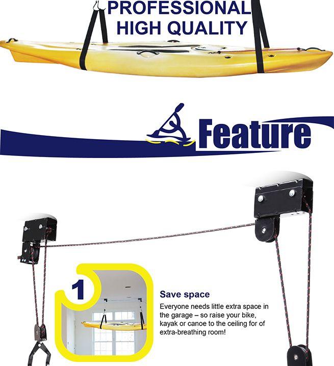 Kayak Hoist Pulley System Bike Lift Garage Ceiling Storage Rack Free Rope HJ