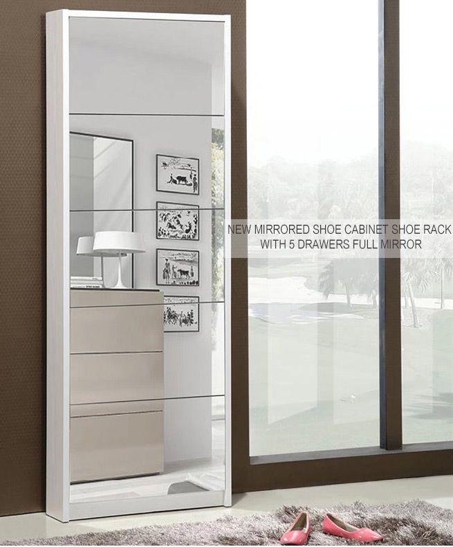 Wonderful Mirrored Shoe Storage Cabinet ... Awesome Ideas